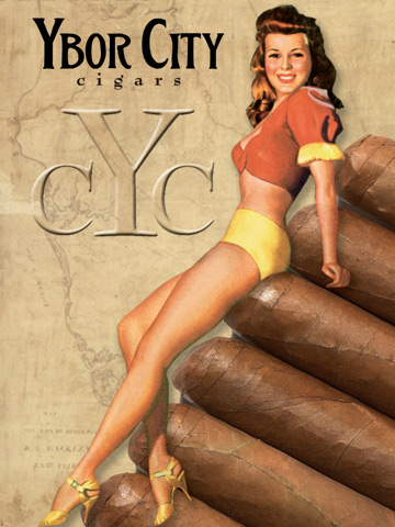 Cigar poster, pin-up style