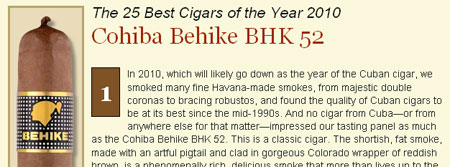 Cigar Aficionado releases their Top 25 cigars of 2010