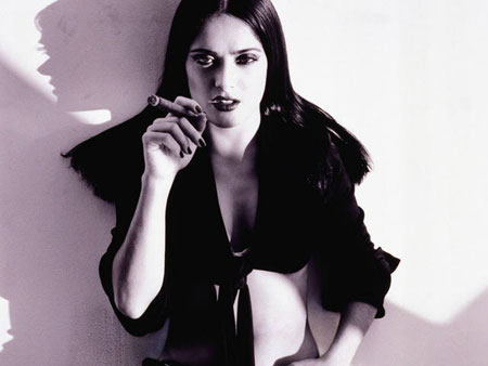 Salma Hayek smoking a cigar