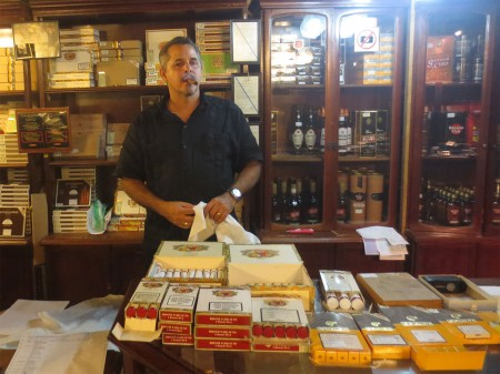 Reynaldo Gonzalez in his cigar shop
